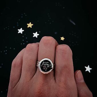 Anello di meteorite grezzo rotondo grosso in argento
