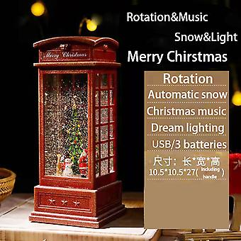 Christmas music box, automatic rotation falling snow, dreamy lights, Christmas decorations gifts