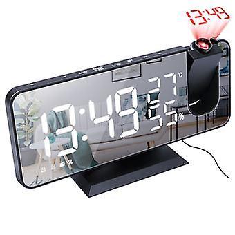 Led Digital Mirror Surface Projection Clock Radio