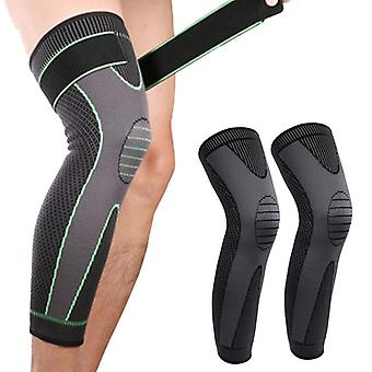 1pc Elastic Knee Support Pressure Bandage Volleyball Long Knee Pads Black Silicone Kneepad Cover Best Knee Brace Sleeve Pads Sports