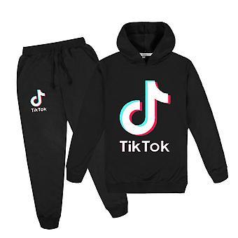 Black Tik Tok Kids Hoodie Pants Suit Girls Long Sleeve Tracksuit Sportswear Sets