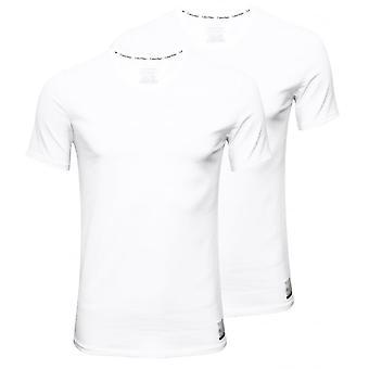Calvin Klein-ID 2-Pack Slim-Fit Crew-hals t-skjorter, hvite