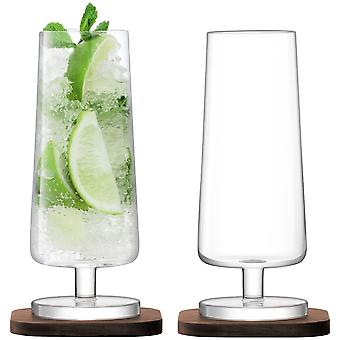 LSA International City Bar Mixer Glasses On Walnut Coasters - Set Of 2