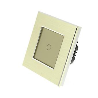 I LumoS Gold Brushed Aluminium 1 Gang 1 Way Touch Dimmer LED Light Switch Gold Insert