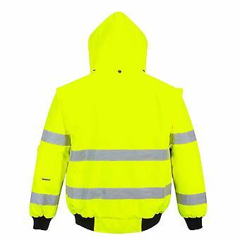 Portwest Mens Hi-Vis Safety Workwear 3-in-1 Bomber Jacket
