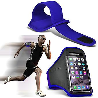 (Blå) Justerbar Sweatproof / Vand Resistent Sports Fitness Running Cycling Gym Armband Telefon sag for BlackBerry Priv [XXL]