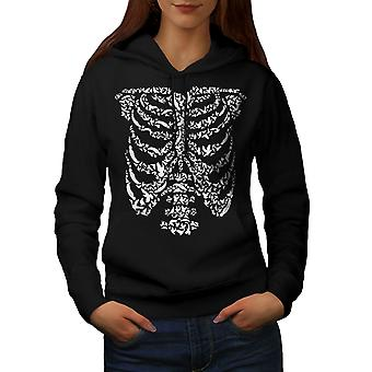 Art Skeleton Bones Skull Women BlackHoodie | Wellcoda