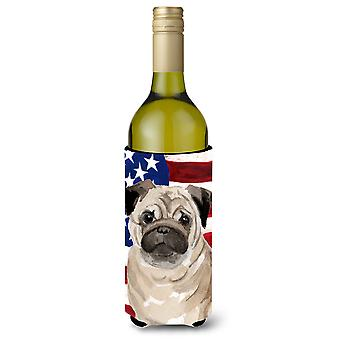 Fawn Pug Patriotic Wine Bottle Beverge Insulator Hugger