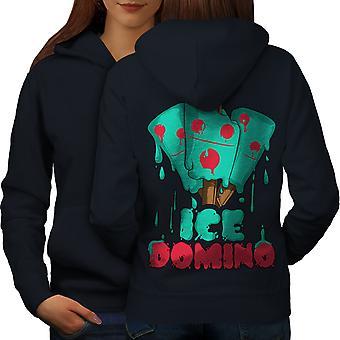 Domino las mujeres NavyHoodie respaldo de hielo | Wellcoda