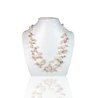 Halskette Invisible Woman in Nylons 3 Reihen in Silber 925 und kultivierte Perlen Multicolor