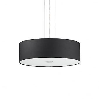 Ideal Lux Woody Decke Drum Schatten Pendelleuchte, schwarzer Stoff