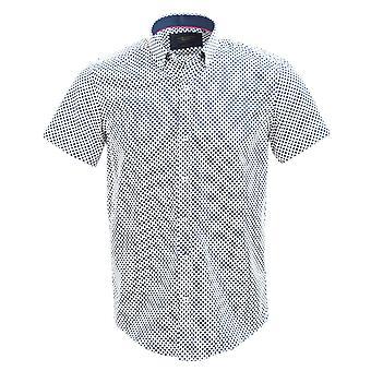 Camisa de manga curta impressão de bolinhas bold (realce) de Sateen guia Londres de algodão da Marinha
