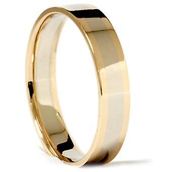 14k wit geel goud 4mm twee Toon trouwring Ring
