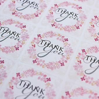 Pink Floral Wreath 'Thank You' Square Stickers  Wedding Birthday x 35