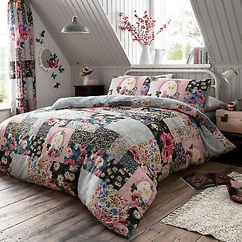 Ellis Multi Flowers Patchwork Duvet Cover Check Printed Floral Bedding Set