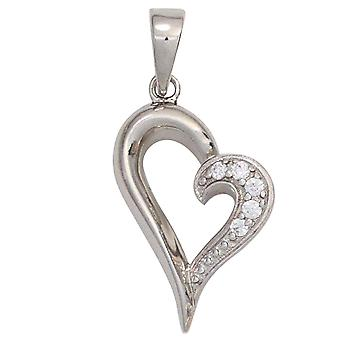 Heart Silver Heart Necklace pendant heart 925 sterling silver rhodium plated with cubic zirconia