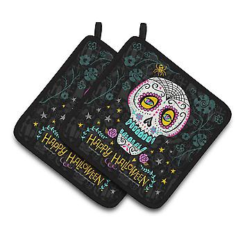 Happy Halloween Day of the Dead Pair of Pot Holders