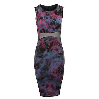 Новые дамы рукавов сетка контраст галстук краситель эффект женщин Bodycon платье