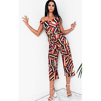 IKRUSH Womens Jordana geometrische af-schouder Wide Leg Jumpsuit