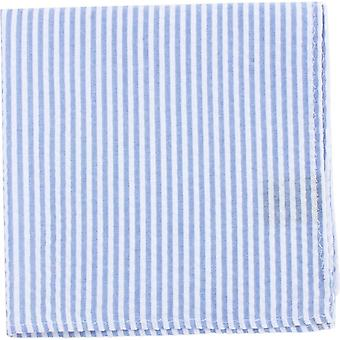 Knightsbridge Boyunluk Çizgili Pamuk Cep Kare - Gökyüzü Mavi / Beyaz