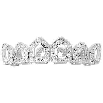 One size fits all top Grillz - CUBIC ZIRCONIA open, silver