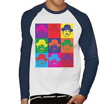 Hercule Poirot Andy Warhol mäns Baseball Långärmad T-Shirt