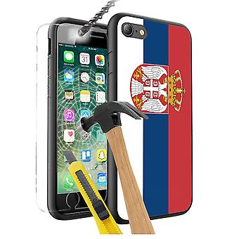 For Huawei P10 Plus - Serbia Flag Design Printed Black Case Skin Cover with Tempered Glass - 0154 by i-Tronixs