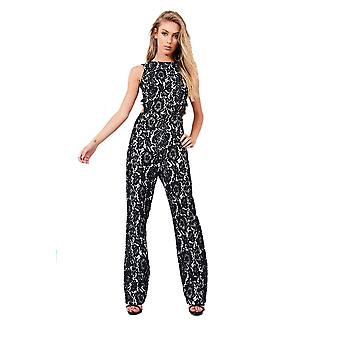 Lovemystyle Black Lace Jumpsuit With Cut Out Back Detail