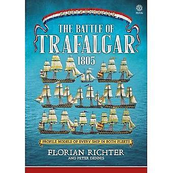 De slag van Trafalgar 1805: elk schip in beide vloten in profiel (vloten in profiel)