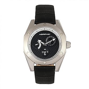 Morphic M46 Series Leather-Band Men's Watch w/Date - Silver/Black