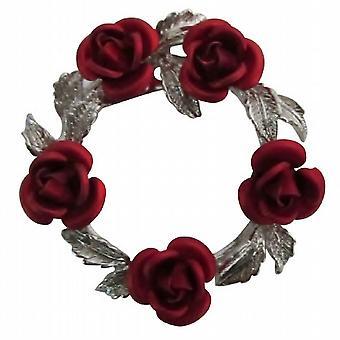 أحمر روز الفضة لهجة إكليلا من الزهور والمجوهرات جمع المجيدة العرسان بروش