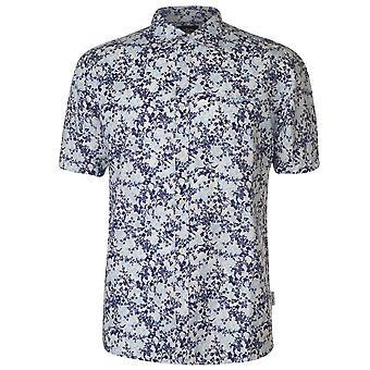 Pierre Cardin męskie całym wydruku lnianej koszuli dorywczo koszulki Krótki rękaw