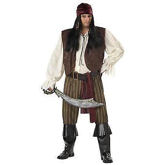 Rogue Pirate Jack Sparrow Buccaneer Carribbean Book Week Men Costume Plus XXL