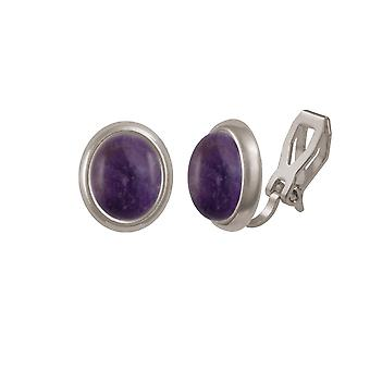 Eternal Collection Minuet Amethyst Silver Tone Stud Clip On Earrings
