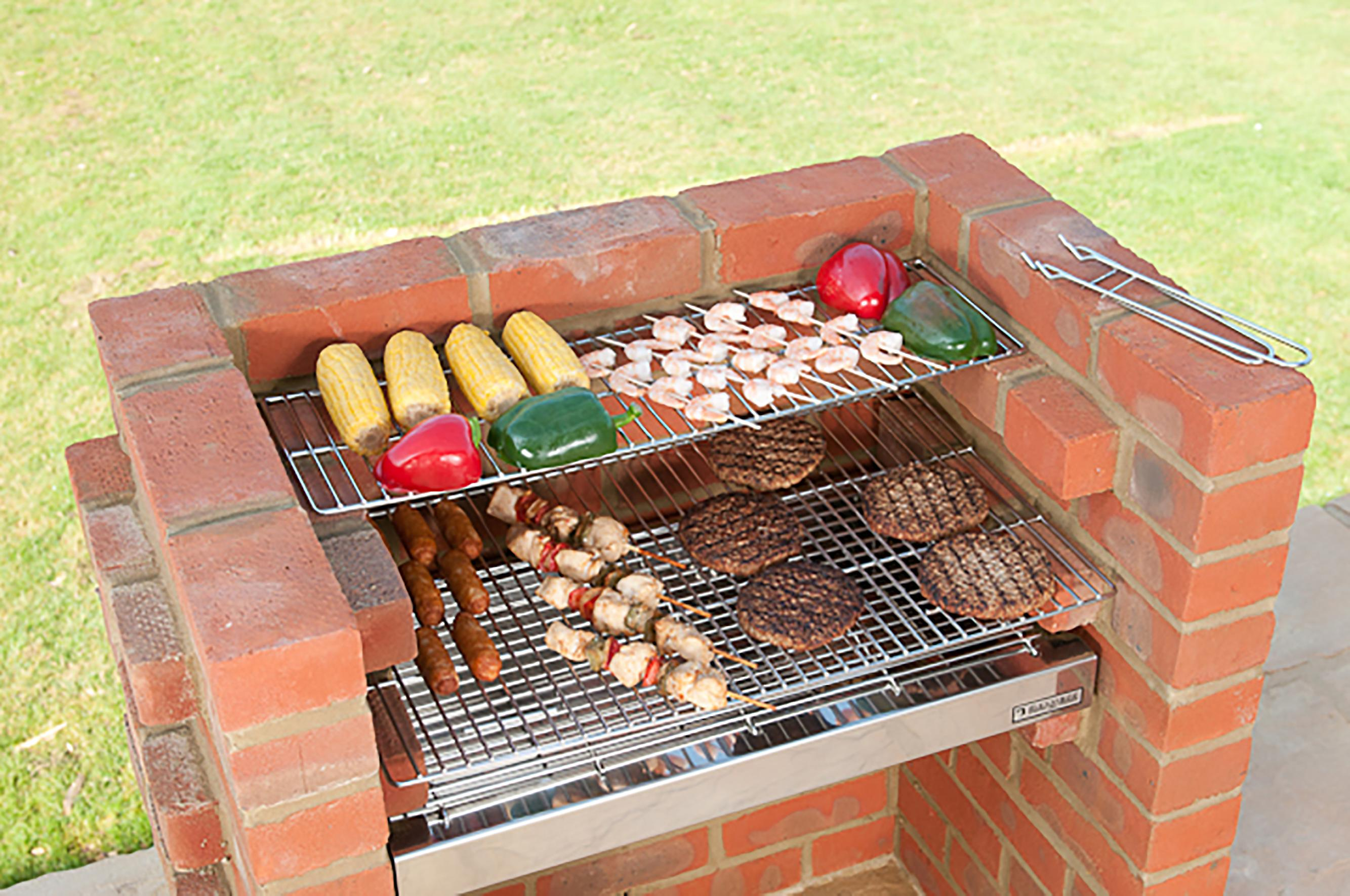 Black Knight Stainless Steel Brick Barbecue Kit - Excalibur