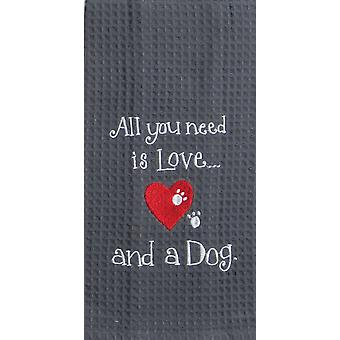 Kay Dee All You Need is Love and A Dog Embroidered Waffle Kitchen Dish Towel