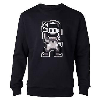 Super Mario genser Nintendo 16bit Mario Peace menns Pullover svart medium