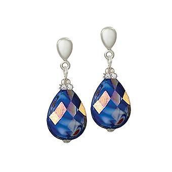Eternal Collection infinity Deep Blue AB marmoroitu lasi Hopea sävy Drop lävistetyt korva korut