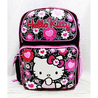 Backpack - Hello Kitty - Black Flower Bow Large Girls School Bag New 84011