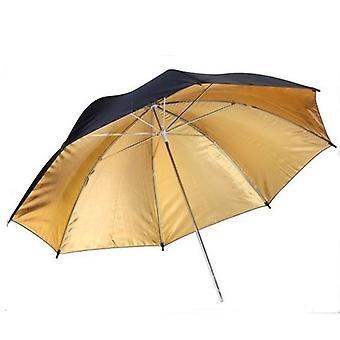 BRESSER BR-BG110 reflekterende paraply sort/guld 110cm