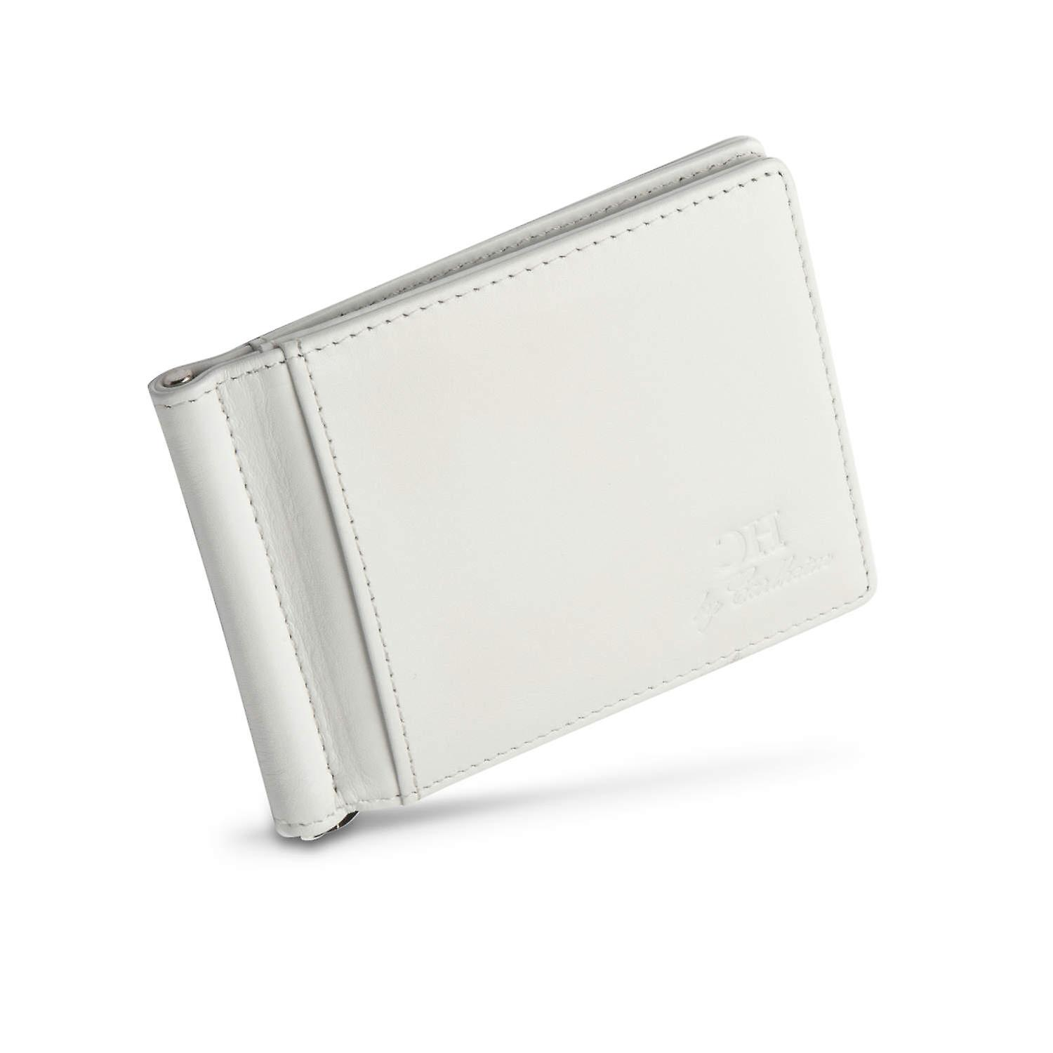 Full RFID Blocking | Wallet with Money Clip | White Leather