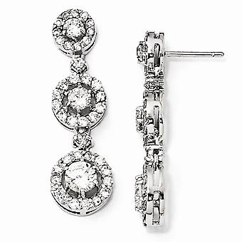 925 Sterling Silver Rhodium plated CZ Cubic Zirconia Simulated Diamond Circle Dangle Post Earrings Jewelry Gifts for Wom