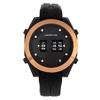 Morphic M76 Series Drum-Roll Strap Watch - Black/Rose Gold