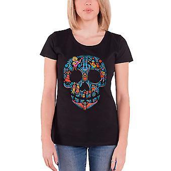 Disney T Shirt Coco Film Schädel Muster neue offizielle Womens Skinny Fit Schwarz