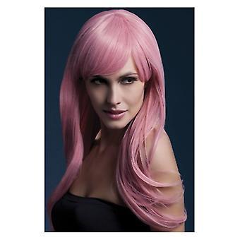 Feber Sienna peruk, pastell rosa, lång befjädrade med fransar, 66cm/26 in maskeraddräkter tillbehör