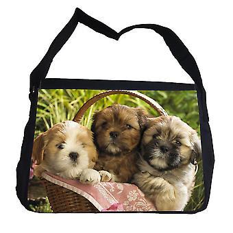 Drie schattige pups tas met schouderriem-schoudertas