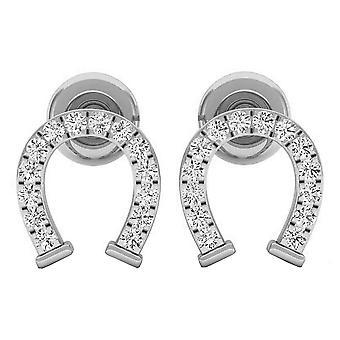 Dazzlingrock Collection 0.10 Carat (ctw) 14K Round White Diamond Ladies Horseshoe Stud Earrings 1/10 CT, White Gold