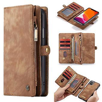 CASEME iPhone 11 Retro Split Leather Wallet Case-brown