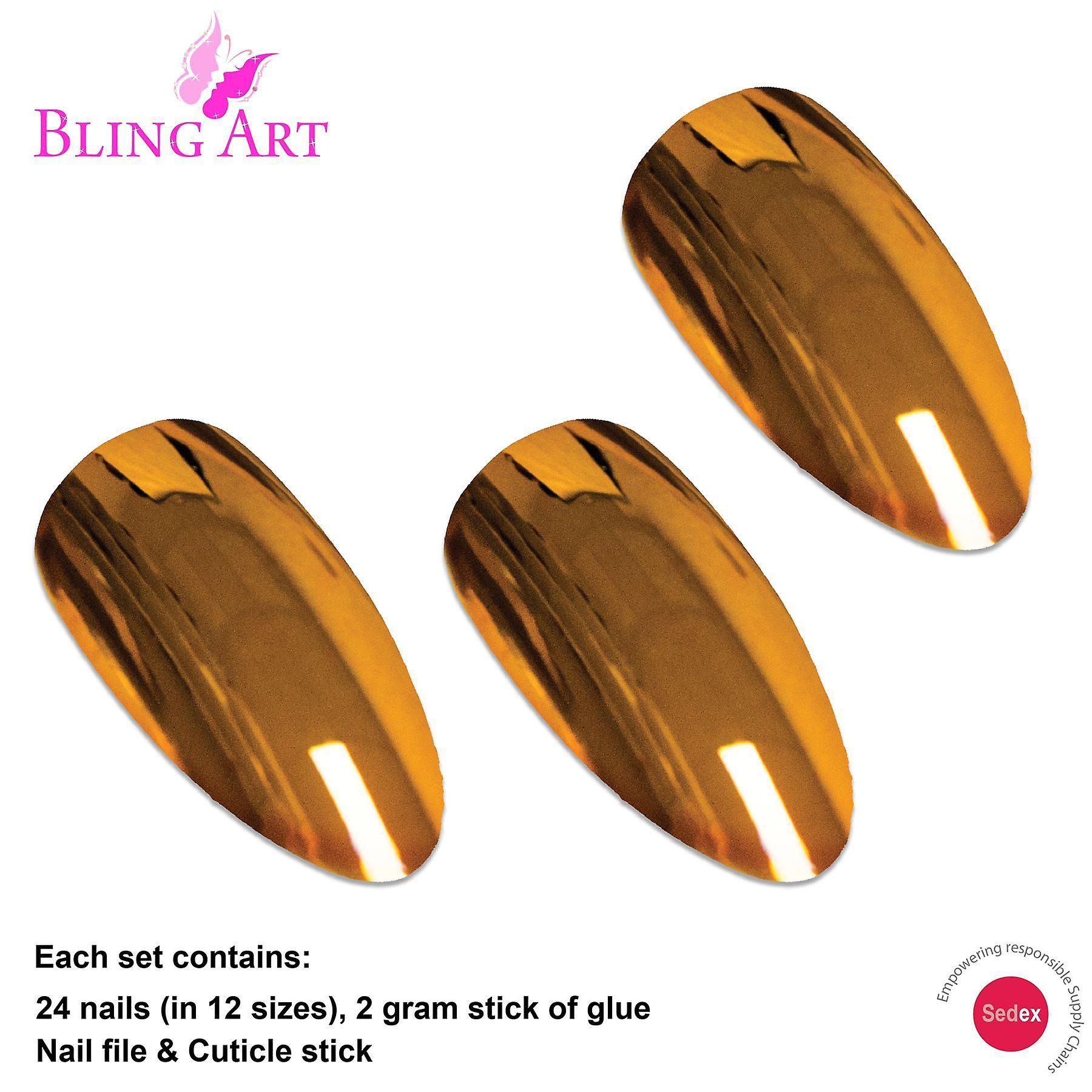 False nails by bling art gold metallic almond stiletto acrylic long fake tips