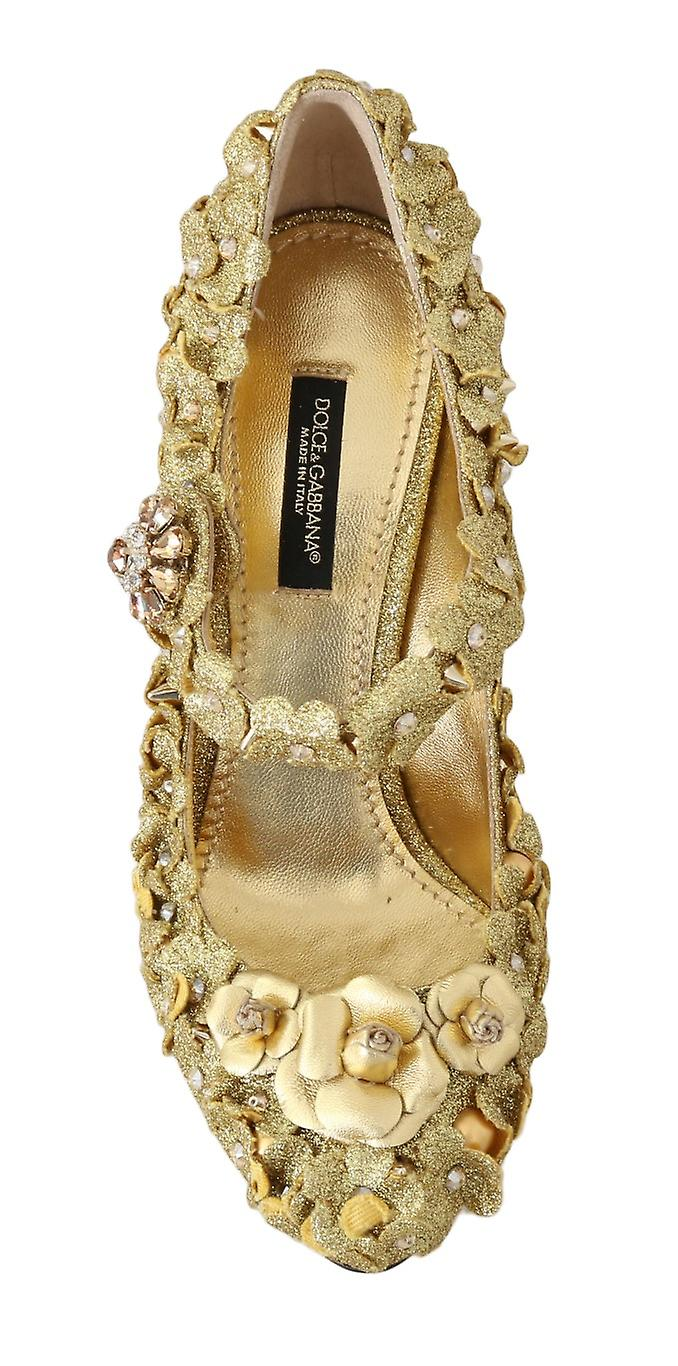 Gold Floral Crystal Mary Janes Pumps